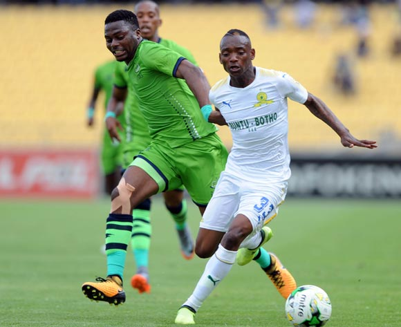 Enocent Mkhabela of Platinum Stars challenges Khama Billiat of Mamelodi Sundowns during the Absa Premiership match between Platinum Stars and Mamelodi Sundowns on the 01 October 2017 at Royal Bafokeng Stadium  © Sydney Mahlangu /BackpagePix