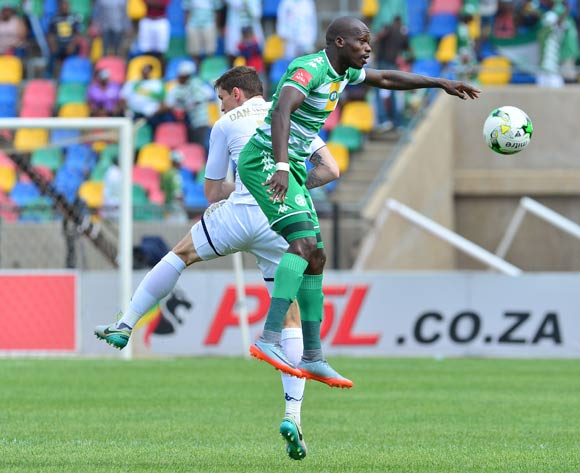 Roggert Nyundu of Bloemfontein Celtic challenged by Slavko Damjanovic of Bidvest Wits during the 2017/18 Absa Premiership football match between Bloemfobtein Celtic and Bidvest Wits at Dr Molemela Stadium, Bloemfontein on 01 October 2017 ©Samuel Shivambu/BackpagePix