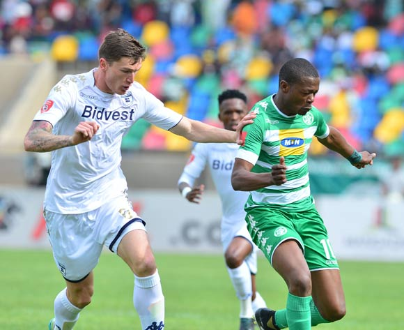 Ndumiso Mabena of Bloemfontein Celtic challenged by Slavko Damjanovic of Bidvest Wits during the 2017/18 Absa Premiership football match between Bloemfobtein Celtic and Bidvest Wits at Dr Molemela Stadium, Bloemfontein on 01 October 2017 ©Samuel Shivambu/BackpagePix