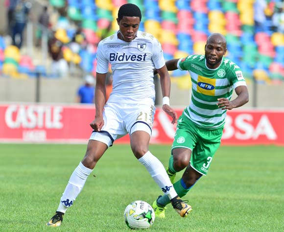 Gerald Phiri of Bidvest Wits challenged by Jacky Motshegwa of Bloemfontein Celtic during the 2017/18 Absa Premiership football match between Bloemfobtein Celtic and Bidvest Wits at Dr Molemela Stadium, Bloemfontein on 01 October 2017 ©Samuel Shivambu/BackpagePix