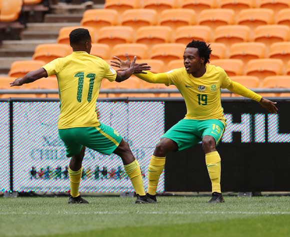 Percy Tau of South Africa (r) celebrates goal with Themba Zwane during the 2018 World Cup qualifier football match between South Africa and Burkina Faso at Soccer City, Johannesburg on 07 October  2017 ©Gavin Barker/BackpagePix