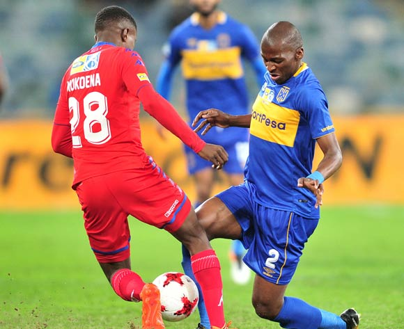 Teboho Mokoena of Supersport United challenged by Thamsanqa Mkhinze of Cape Town City during the 2017 MTN8 football match between Cape Town City and Supersport United at Moses Mabhida Stadium, Durban on 14 October 2017 ©Samuel Shivambu/BackpagePix