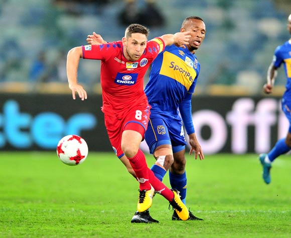 Dean Furman of Supersport United challenged by Lehlohonolo Majoro of Cape Town City during the 2017 MTN8 football match between Cape Town City and Supersport United at Moses Mabhida Stadium, Durban on 14 October 2017 ©Samuel Shivambu/BackpagePix