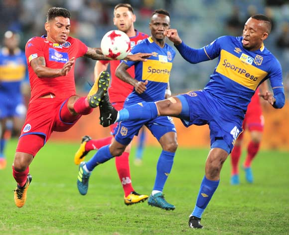 Lehlohonolo Majoro of Cape Town City challenged by Clayton Daniels of Supersport United during the 2017 MTN8 football match between Cape Town City and Supersport United at Moses Mabhida Stadium, Durban on 14 October 2017 ©Samuel Shivambu/BackpagePix