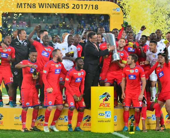 Supersport United winners of the 2017 MTN8 football match between Cape Town City and Supersport United at Moses Mabhida Stadium, Durban on 14 October 2017 ©Samuel Shivambu/BackpagePix