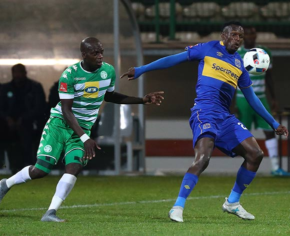 Sibusiso Masina of Cape Town City evades challenge from Roggert Nyundu of Bloemfontein Celtic during the Absa Premiership 2017/18 football match between Cape Town City FC and Bloemfontein Celtic at Athlone Stadium, Cape Town on 17 October 2017 ©Chris Ricco/BackpagePix