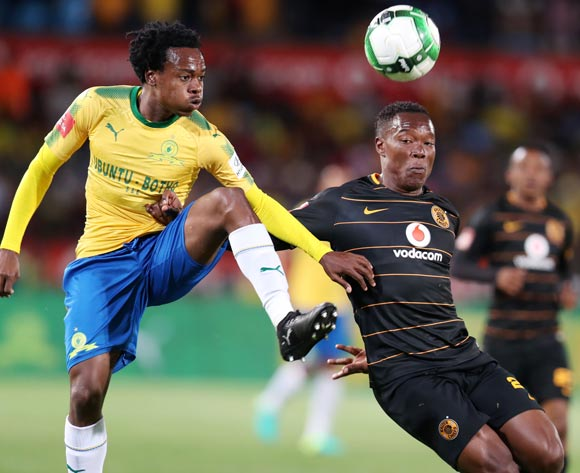 Philani Zulu of Kaizer Chiefs challenged by Percy Tau of Mamelodi Sundowns during the Absa Premiership 2017/18 match between Mamelodi Sundowns and Kaizer Chiefs at Loftus Versveld Stadium in Pretoria, South Africa on 17 October 2017 ©Muzi Ntombela/BackpagePix