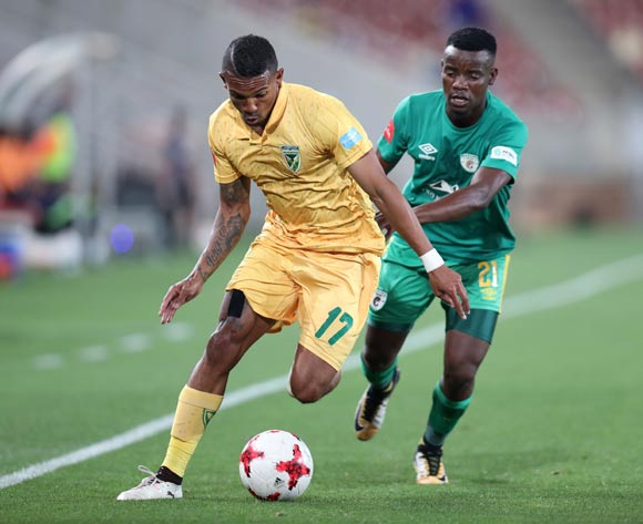 Wayde Jooste of Golden Arrows challenged by Sipho Moeti of Baroka during the Absa Premiership 2017/18 match between Baroka FC and Golden Arrows at Peter Mokaba Stadium in Polokwane, South Africa on 17 October 2017 ©Muzi Ntombela/BackpagePix