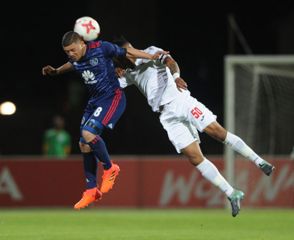 Grant Margeman of Ajax Cape Town is challenged by Nhlanhla Vilakazi of Free State Stars during the Absa Premiership 2017/18 match between Free State Stars and Ajax Cape Town  on 18 October 2017 at Goble Park Stadium @Sydney Mahlangu/BackpagePix