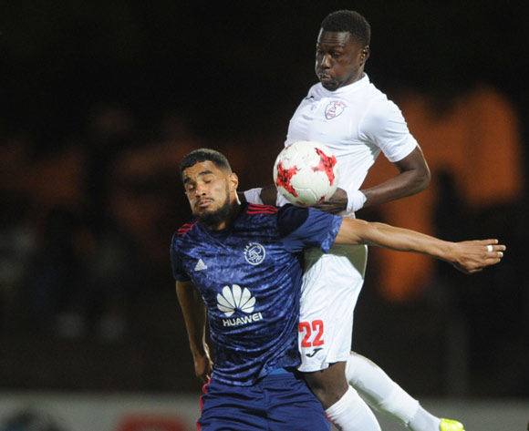 Tashreeq Morris of Ajax Cape Town challenges Bangaly Keita of Free State Stars during the Absa Premiership 2017/18 match between Free State Stars and Ajax Cape Town  on 18 October 2017 at Goble Park Stadium @Sydney Mahlangu/BackpagePix