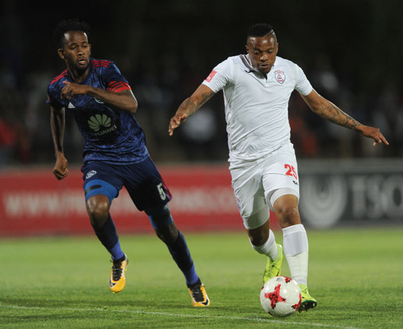 Mosa Lebusa of Ajax Cape Town challenges Edward Manqele of Free State Stars during the Absa Premiership 2017/18 match between Free State Stars and Ajax Cape Town  on 18 October 2017 at Goble Park Stadium @Sydney Mahlangu/BackpagePix