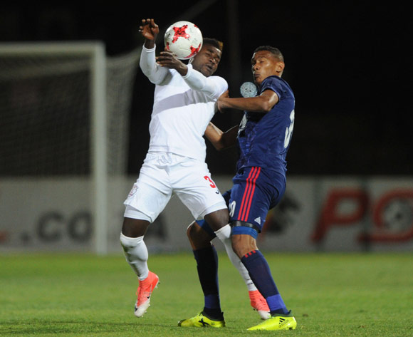 Mario Booysen of Ajax Cape Town  challenges Mohammed Anas of Free State Stars  during the Absa Premiership 2017/18 match between Free State Stars and Ajax Cape Town  on 18 October 2017 at Goble Park Stadium @Sydney Mahlangu/BackpagePix