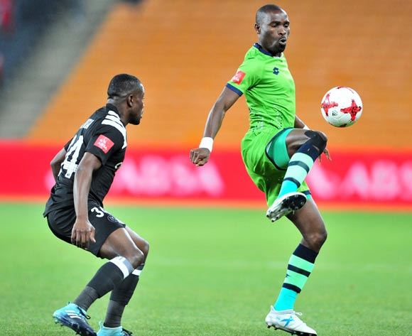 Robert Ngambi of Platinum Stars challenged by Ntsikelelo Nyauza of Orlando Pirates during the Absa Premiership 2017/18 football match between Orlando Pirates and Platinum Stars at FNB Stadium, Johannesburg on 18 October 2017 ©Samuel Shivambu/BackpagePix