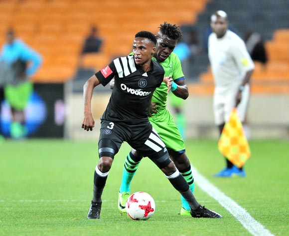 Thembinkosi Lorch of Orlando Pirates challenged by Siyabonga Zulu of Platinum Stars during the Absa Premiership 2017/18 football match between Orlando Pirates and Platinum Stars at FNB Stadium, Johannesburg on 18 October 2017 ©Samuel Shivambu/BackpagePix