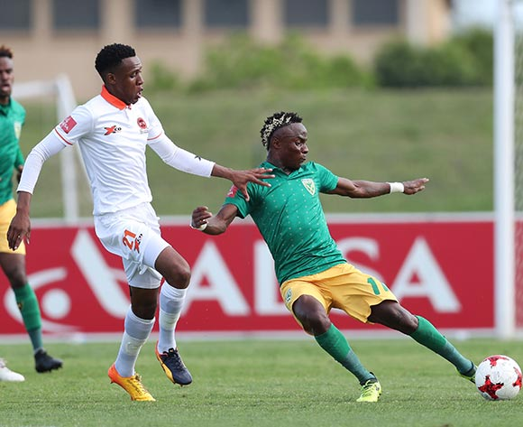 Kudakwashe Mahachi of Golden Arrows clears ball from Sammy Seabi of Polokwane City during the 2017/18 Absa Premiership football match between Golden Arrows and Polokwane City at Princess Magogo Stadium, Durban on 21 October 2017 ©Gavin Barker/BackpagePix