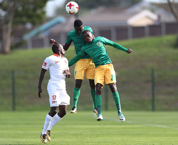 Zolani Nkombelo (c) and Siphelele Magubane of Golden Arrows wins header against  Rodney Ramagalela of Polokwane City during the 2017/18 Absa Premiership football match between Golden Arrows and Polokwane City at Princess Magogo Stadium, Durban on 21 October 2017 ©Gavin Barker/BackpagePix