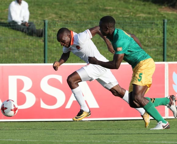 Rodney Ramagalela of Polokwane City challenged by Limbikani Mzava of Golden Arrows during the 2017/18 Absa Premiership football match between Golden Arrows and Polokwane City at Princess Magogo Stadium, Durban on 21 October 2017 ©Gavin Barker/BackpagePix
