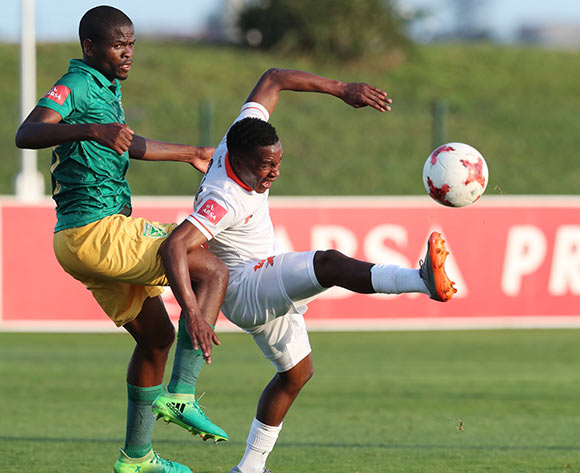 Vusimusi Mngomezulu of Polokwane City challenged by Nkanyiso Mngwengwe of Golden Arrows  during the 2017/18 Absa Premiership football match between Golden Arrows and Polokwane City at Princess Magogo Stadium, Durban on 21 October 2017 ©Gavin Barker/BackpagePix