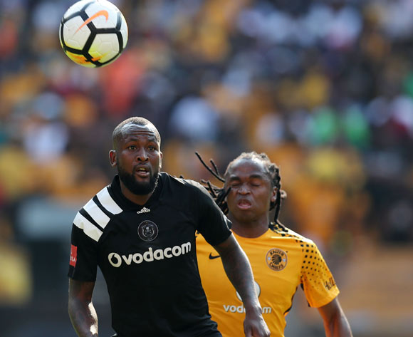 Mpho Makola of Orlando Pirates challenged by Siphiwe Tshabalala of Kaizer Chiefs during the Absa Premiership 2017/18 match between Kaizer Chiefs and Orlando Pirates at FNB Stadium in Johannesburg, South Africa on 21 October 2017 ©Muzi Ntombela/BackpagePix