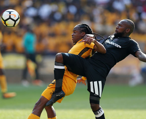Siphiwe Tshabalala of Kaizer Chiefs challenged by Mpho Makola of Orlando Pirates during the Absa Premiership 2017/18 match between Kaizer Chiefs and Orlando Pirates at FNB Stadium in Johannesburg, South Africa on 21 October 2017 ©Muzi Ntombela/BackpagePix
