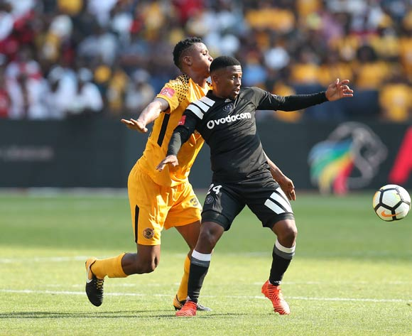 Thabiso Kutumela of Orlando Pirates challenged by Siyabonga Ngezana of Kaizer Chiefs during the Absa Premiership 2017/18 match between Kaizer Chiefs and Orlando Pirates at FNB Stadium in Johannesburg, South Africa on 21 October 2017 ©Muzi Ntombela/BackpagePix