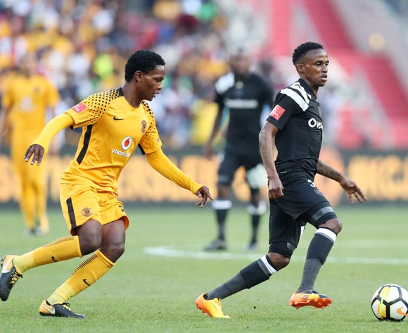 Thembinkosi Lorch of Orlando Pirates challenged by Wiseman Meyiwa of Kaizer Chiefs during the Absa Premiership 2017/18 match between Kaizer Chiefs and Orlando Pirates at FNB Stadium in Johannesburg, South Africa on 21 October 2017 ©Muzi Ntombela/BackpagePix