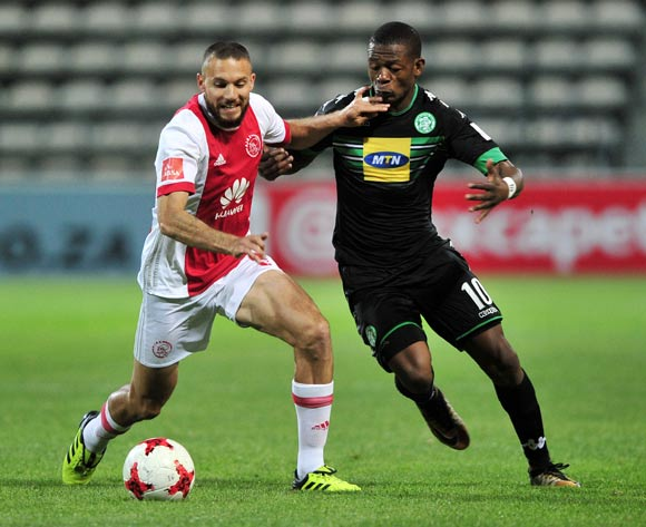 Roscoe Pietersen of Ajax Cape Town is challenged by Ndumiso Mabena of Bloemfontein Celtic during the Absa Premiership 2017/18 game between Ajax Cape Town and Bloemfontein Celtic at Athlone Stadium, Cape Town on 21 October 2017 © Ryan Wilkisky/BackpagePix