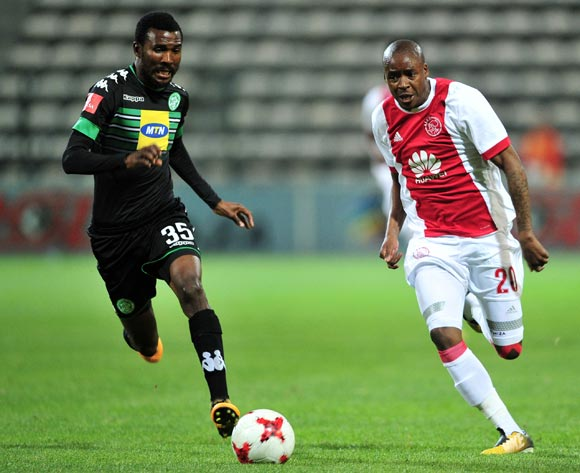 Bantu Mzwakali of Ajax Cape Town takes on Lucky Baloyi of Bloemfontein Celtic during the Absa Premiership 2017/18 game between Ajax Cape Town and Bloemfontein Celtic at Athlone Stadium, Cape Town on 21 October 2017 © Ryan Wilkisky/BackpagePix