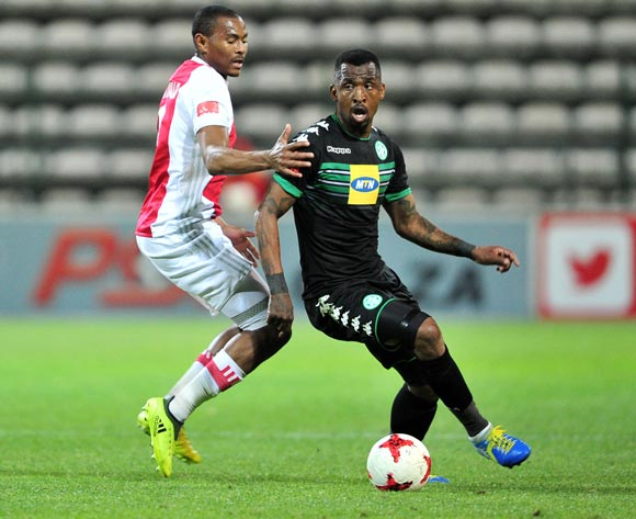Alfred Ndengane of Bloemfontein Celtic goes past Prince Nxumalo of Ajax Cape Town during the Absa Premiership 2017/18 game between Ajax Cape Town and Bloemfontein Celtic at Athlone Stadium, Cape Town on 21 October 2017 © Ryan Wilkisky/BackpagePix