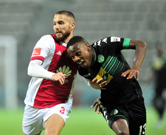 Roscoe Pietersen of Ajax Cape Town and Victor Letsoalo of Bloemfontein Celtic battle for possession during the Absa Premiership 2017/18 game between Ajax Cape Town and Bloemfontein Celtic at Athlone Stadium, Cape Town on 21 October 2017 © Ryan Wilkisky/BackpagePix