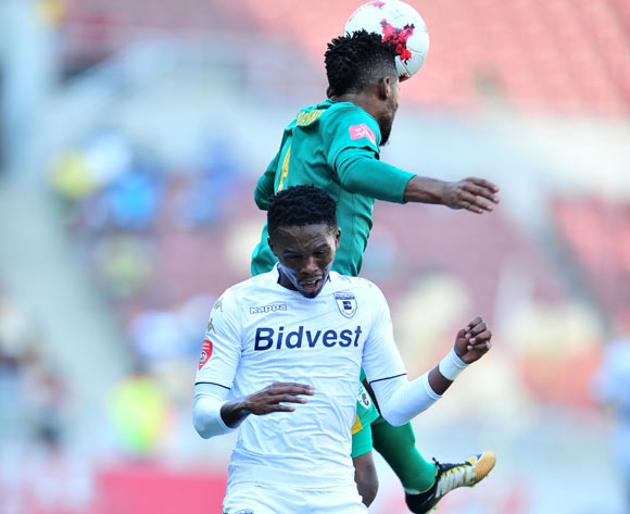 Thabang Monare of Bidvest Wits challenged by Mduduzi Mdatsane of Baroka during the Absa Premiership 2017/18 football match between Baroka and Bidvest Wits at Peter Mokaba Stadium, Polokwane on 22 October 2017 ©Samuel Shivambu/BackpagePix
