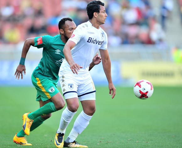 Amr Gamal of Bidvest Wits challenged by Punch Masenamela of Baroka during the Absa Premiership 2017/18 football match between Baroka and Bidvest Wits at Peter Mokaba Stadium, Polokwane on 22 October 2017 ©Samuel Shivambu/BackpagePix