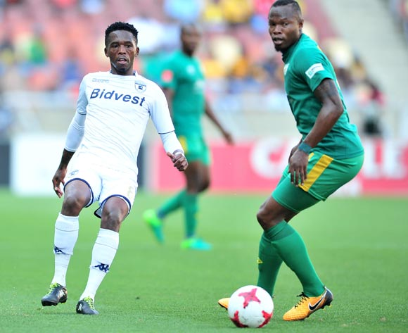Thabang Monare of Bidvest Wits challenged by Letladi Madubanya of Baroka during the Absa Premiership 2017/18 football match between Baroka and Bidvest Wits at Peter Mokaba Stadium, Polokwane on 22 October 2017 ©Samuel Shivambu/BackpagePix