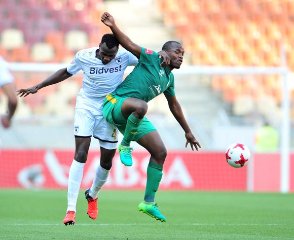 Gift Motupa of Baroka FC and Bongani Khumalo of Bidvest Wits during the Absa Premiership 2017/18 football match between Baroka and Bidvest Wits at Peter Mokaba Stadium, Polokwane on 22 October 2017 ©Samuel Shivambu/BackpagePix