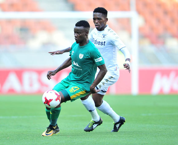 Sipho Moeti of Baroka challenged by Thabang Monare of Bidvest Wits during the Absa Premiership 2017/18 football match between Baroka and Bidvest Wits at Peter Mokaba Stadium, Polokwane on 22 October 2017 ©Samuel Shivambu/BackpagePi