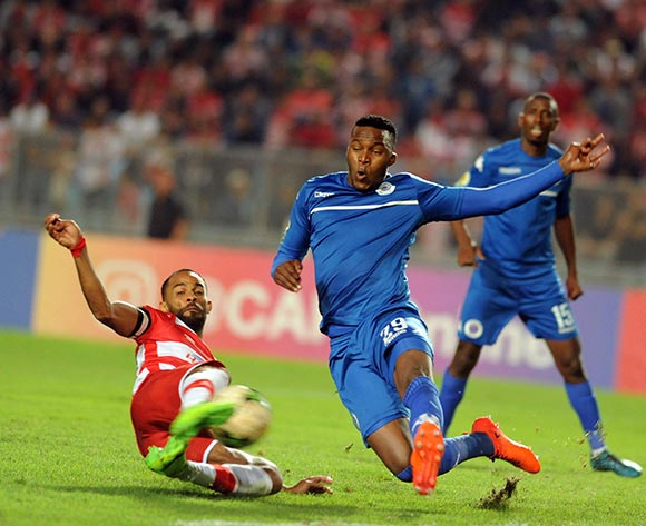 Club Africain player  Saber Khalifa  (R) fights for the ball with Supersport United FC player  Morgan Gould  (L) during the semi-final return 2017 CAF Confederations Cup game between Club Africain and Supersport United FC in Tunis, Tunisia on 22 October 2017 © BackpagePix