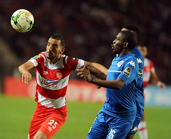 Club Africain player Ibrahim Chenihi  (R) fights for the ball with Supersport United FC player  Aubrey Modiba  (L) during the semi-final return 2017 CAF Confederations Cup game between Club Africain and Supersport United FC in Tunis, Tunisia on 22 October 2017 © BackpagePix
