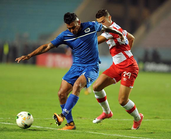 Club Africain player  Khalil Aounallah (R) fights for the ball with Supersport United FC player  Clayton Daniels (L) during the semi-final return 2017 CAF Confederations Cup game between Club Africain and Supersport United FC in Tunis, Tunisia on 22 October 2017 © BackpagePix