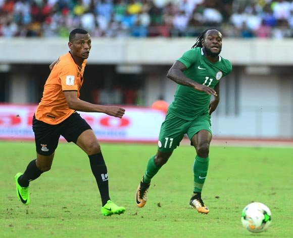 Victor Moses of Nigeria and Fackson Kapumbu of Zambia during the 2018 FIFA World Cup qualifier football match between Nigeria and Zambia on 07 October 2017 at Godswill Akpabio Stadium, Uyo, Nigeria ©Kabiru Abubakar/BackpagePix