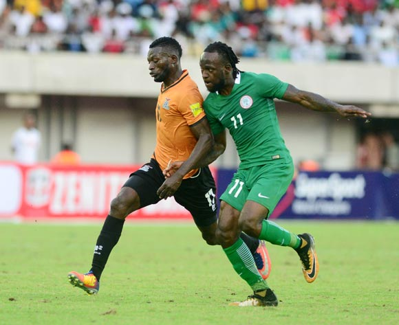 Victor Moses of Nigeria and Chisamba Lungu of Zambia during the 2018 FIFA World Cup qualifier football match between Nigeria and Zambia on 07 October 2017 at Godswill Akpabio Stadium, Uyo, Nigeria ©Kabiru Abubakar/BackpagePix