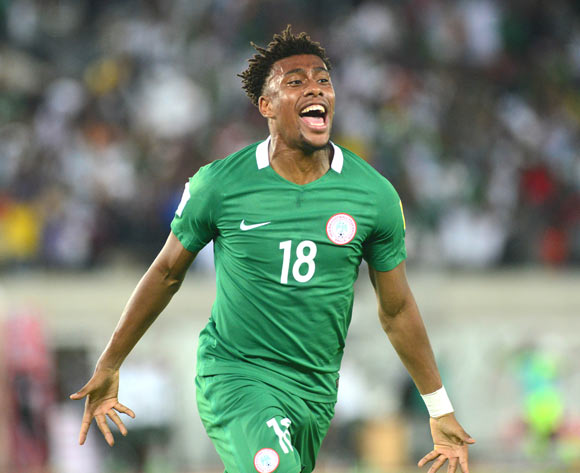 Alex Iwobi of Nigeria celebrates his goal during the 2018 FIFA World Cup qualifier football match between Nigeria and Zambia on 07 October 2017 at Godswill Akpabio Stadium, Uyo, Nigeria ©Kabiru Abubakar/BackpagePix