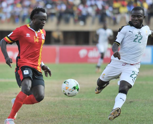 Frank Acheampong of Ghana challenges Nicholas Wadada of Uganda during the 2018 Fifa World Cup Qualifiers Russia on 07 October 2017 at Mandela Stadium, Namboole, Kampala. ©Ismail Kezaala/BackpagePix
