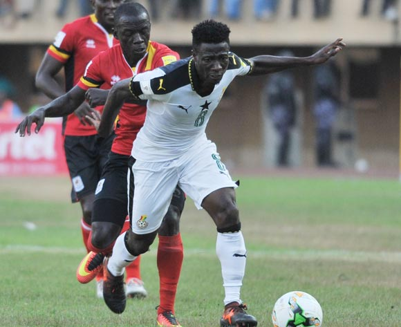 Muzamir Mutyaba of Uganda challenges Ebenezer Ofori of Ghana during the 2018 Fifa World Cup Qualifiers Russia on 07 October 2017 at Mandela Stadium, Namboole, Kampala. ©Ismail Kezaala/BackpagePix