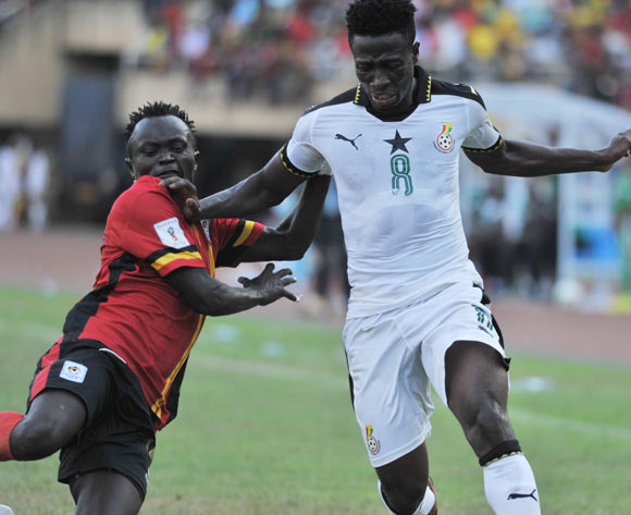 Nicholas Wadada of Uganda challenges Ebenezer Ofori of Ghana during the 2018 Fifa World Cup Qualifiers Russia on 07 October 2017 at Mandela Stadium, Namboole, Kampala. ©Ismail Kezaala/BackpagePix