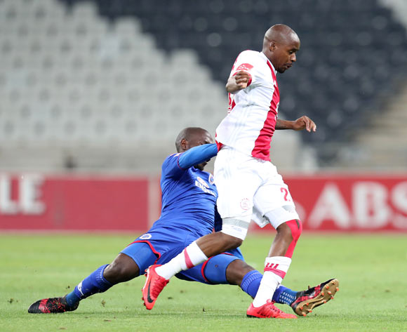 Bantu Mzwakali of Ajax Cape Town tackled by Aubrey Modiba of Supersport Unitedduring the Absa Premiership 2017/18 match between Supersport United and Ajax Cape Town at Mbombela Stadium, Mpumalanga South Africa on 29 November 2017 ©Muzi Ntombela/BackpagePix