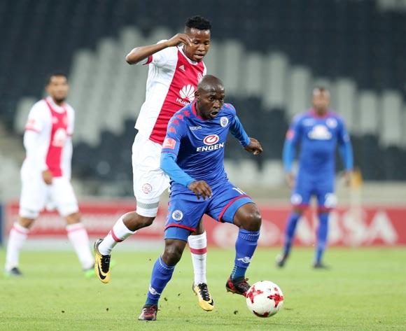 Aubrey Modiba of Supersport United challenged by Thabo Mosadi of Ajax Cape Town during the Absa Premiership 2017/18 match between Supersport United and Ajax Cape Town at Mbombela Stadium, Mpumalanga South Africa on 29 November 2017 ©Muzi Ntombela/BackpagePix