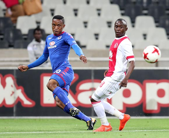 Grant Kekana of Supersport United challenged by Masilake Phohlongo of Ajax Cape Town during the Absa Premiership 2017/18 match between Supersport United and Ajax Cape Town at Mbombela Stadium, Mpumalanga South Africa on 29 November 2017 ©Muzi Ntombela/BackpagePix