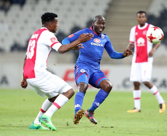 Aubrey Modiba of Supersport United challenged by Isaac Nhlapo of Ajax Cape Town during the Absa Premiership 2017/18 match between Supersport United and Ajax Cape Town at Mbombela Stadium, Mpumalanga South Africa on 29 November 2017 ©Muzi Ntombela/BackpagePix