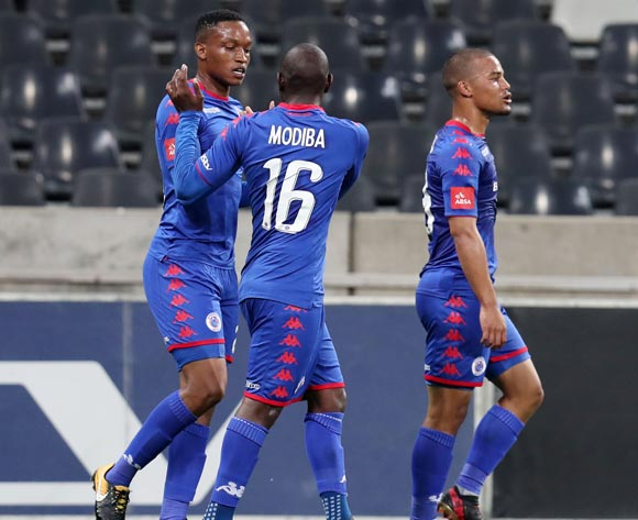 Aubrey Modiba of Supersport United celebrates goal with teammates during the Absa Premiership 2017/18 match between Supersport United and Ajax Cape Town at Mbombela Stadium, Mpumalanga South Africa on 29 November 2017 ©Muzi Ntombela/BackpagePix
