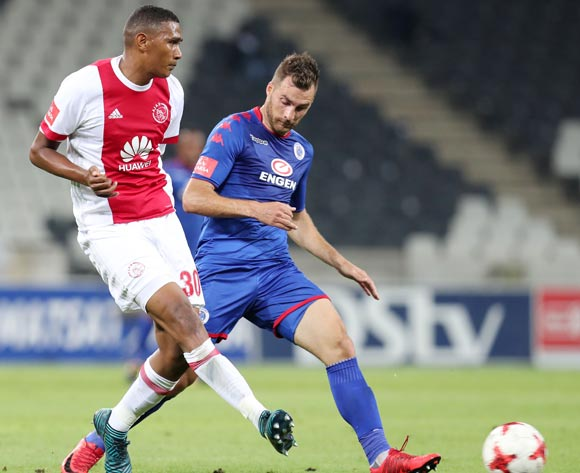 Mario Booysen of Ajax Cape Town challenged by Bradley Grobler of Supersport United during the Absa Premiership 2017/18 match between Supersport United and Ajax Cape Town at Mbombela Stadium, Mpumalanga South Africa on 29 November 2017 ©Muzi Ntombela/BackpagePix